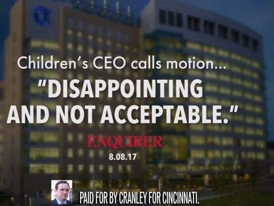 Screen shot Mayor John Cranley's new TV ad.