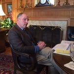 Gov. John Bel Edwards fields questions at the Governor's Mansion on Monday.