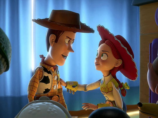 """Woody and Jessie in a scene from """"Toy Story 3."""""""