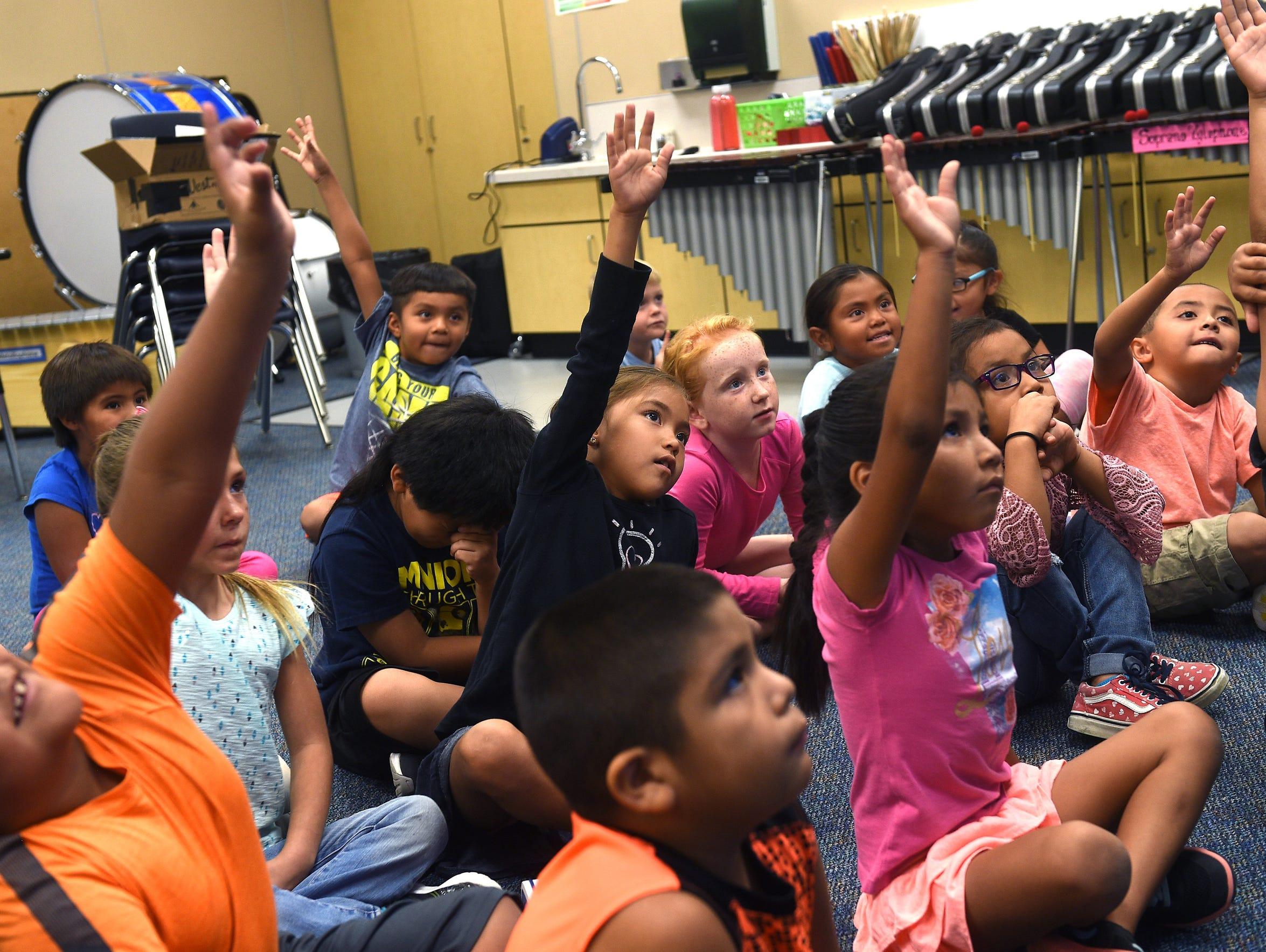 Students are seen during a music class at Natchez Elementary