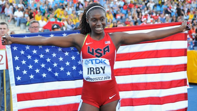 BYDGOSZCZ, POLAND - JULY 21: Lynna Irby from USA celebrates winning silver medal in women's 400 metres during the IAAF World U20 Championships at the Zawisza Stadium on July 21, 2016 in Bydgoszcz, Poland.