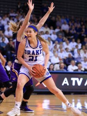Sammie Bachrodt of Drake drives to the hoop during