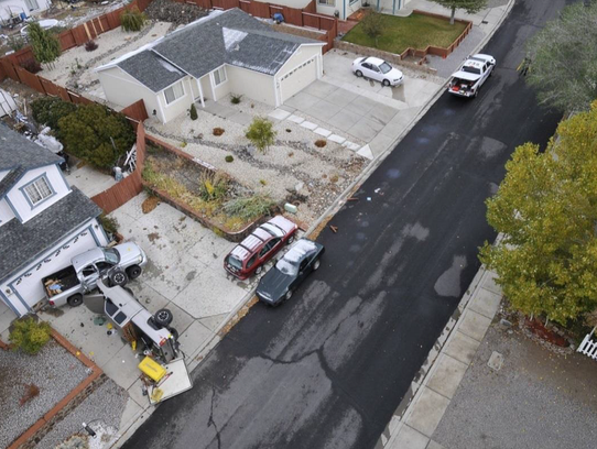 A photo taken from above showing the scene of a vehicle