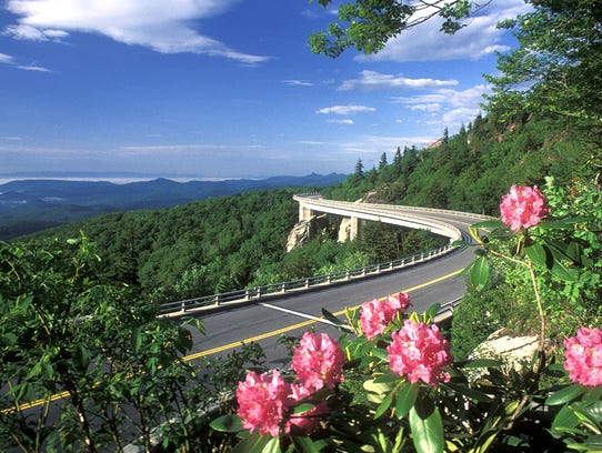 The Linn Cove Viaduct was completed in the mid-1980s