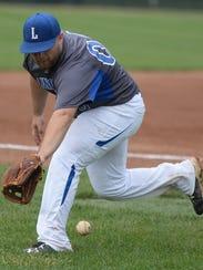 Lincoln third baseman Hunter Wilhite tracks down a