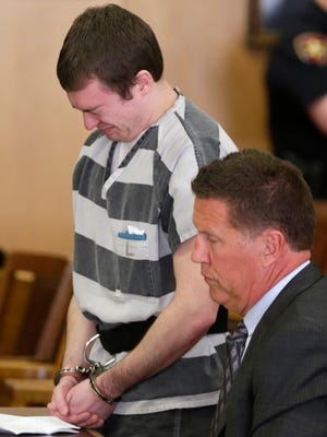"""Ryan Jorgenson was sentenced to 25 years in prison in Winnebago County Court  on March 13, 2015 in Oshkosh, Wis. Jorgenson was  convicted of first-degree reckless homicide in the death 3-year-old Addison Rochon. She was severely injured while under Jorgenson's care on May 14, 2014 and died a week later. He later told police he """"kind of shoved"""" the girl when she was crying at the bottom of the stairs, causing her to trip and hit the back of her head. Medical experts say the child's injuries were too severe to be explained by a fall down carpeted stairs. Traumatic brain injury was listed as her cause of death.Wm. Glasheen/Post-Crescent Media"""