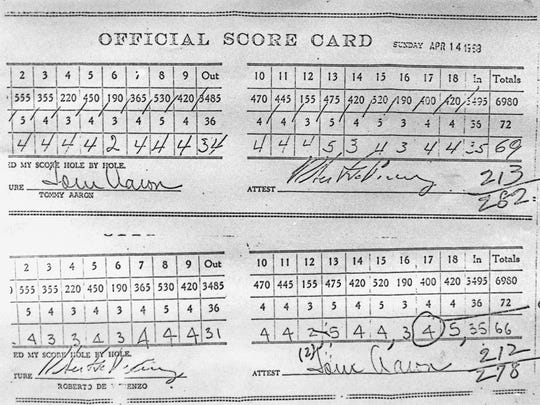FILE - In this April 14, 1968, file photo, shows a copy of the scorecard, bottom, which cost Roberto De Vicenzo the Masters Golf Tournament after he finished in a 277-tie with Bob Goalby in Augusta, Ga. The card shows a 4 on hole No. 17 when he actually had scored a 3. His error pushed him to second place. De Vicenzo, known as much for a scorecard error at the Masters as his British Open victory that made him the first Argentine to win a major, died Thursday, June 1, 2017. He was 94. (AP Photo/File)
