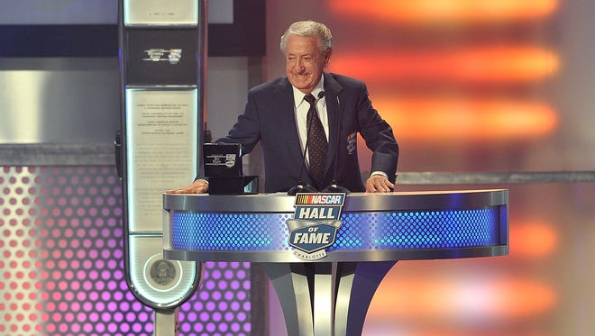 Rex White speaks during his induction to the NASCAR Hall of Fame Firday.