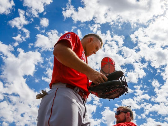 Mar 14, 2018; Goodyear, AZ, USA; Los Angeles Angels outfielder Mike Trout against the Cleveland Indians during a spring training game at Goodyear Ballpark.
