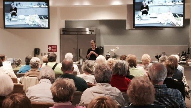 Lebanon caterer Leslie Turner Bures speaks at Lancaster General Health's spring cooking demonstration.