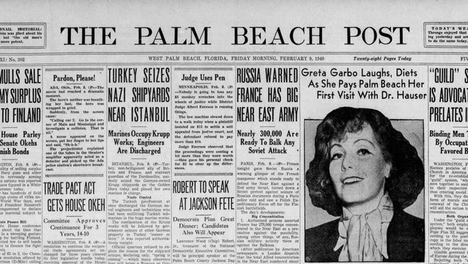 The Feb. 9, 1940 front page of The Palm Beach Post, reporting the visit of Greta Garbo along with reports of the widening war in Europe.