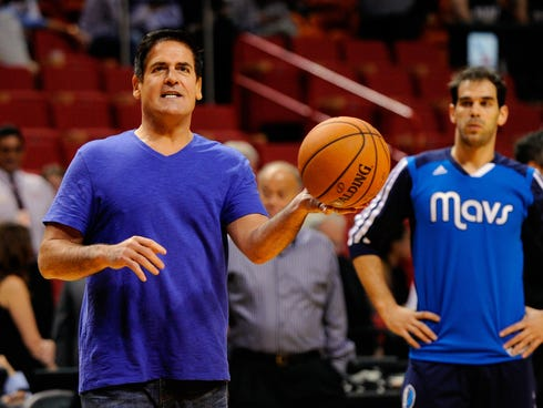 Mavericks owner Mark Cuban shoots around with the team before a game Nov. 15.
