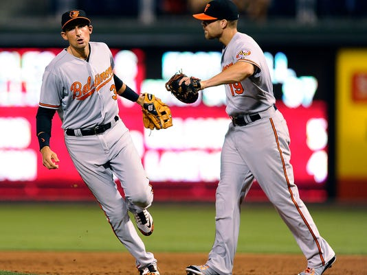 Baltimore Orioles second baseman Ryan Flaherty. left, celebrates with first baseman Chris Davis after completing a double play to end the ninth inning of an interleague baseball game against the Philadelphia Phillies on Wednesday. The Orioles beat the Phillies, 6-4.