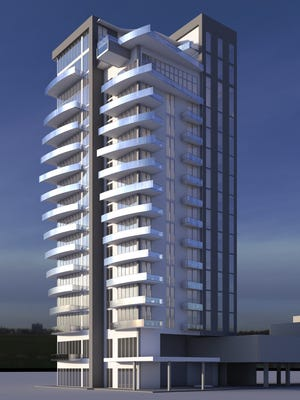 A preliminary concept drawing shows the 15-story boutique condos announced Tuesday by JAXI, CMD to be built on the downtown Fort Myers waterfront at  2583 First Street. The project, called ONE ALLURE, is expected to start construction in mid-2017 and be completed in 2018, ahead of the developer's two 32-story ALLURE towers planned next door.