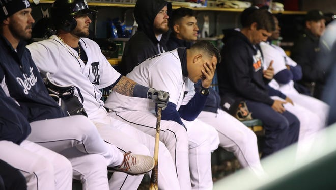 Tigers first baseman Miguel Cabrera sits on the bench dejected after striking out swinging in the ninth inning of the Tigers' 5-1 loss to the A's Tuesday at Comerica Park.