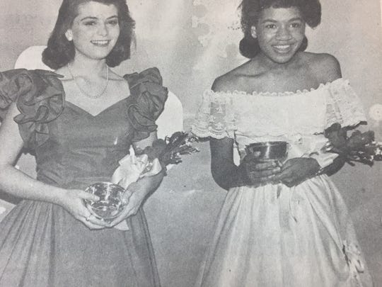 Laura Stockton, left, and Tina Alvis, right, were runners-up for Union County High School's Basketball Homecoming Queen in February 1986.