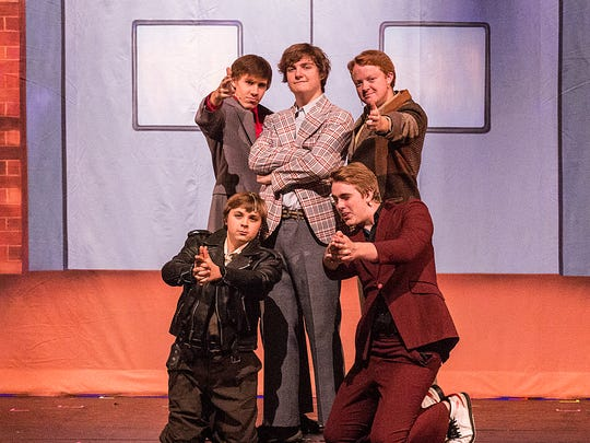 """Derek Rosenthal, David Bonlander, Jerome Poltrock, Alex Sesing and Simon Mueller perform in """"Sister Act"""" at the Fond du Lac High School, on Tuesday, Oct. 24, 2017."""