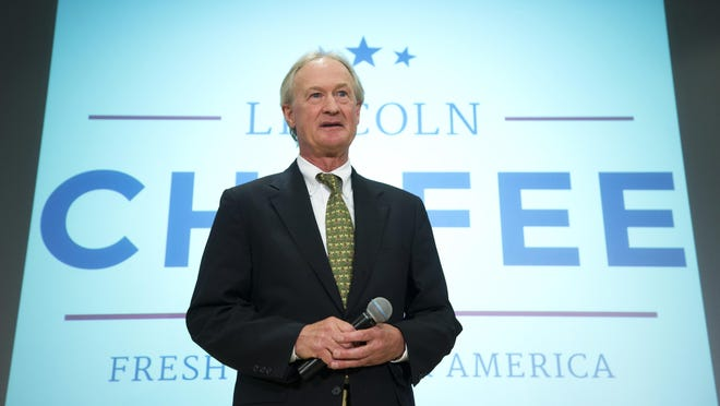 Former Rhode Island Gov. Lincoln Chafee announces his candidacy for the Democratic presidential nomination Wednesday at George Mason University in Arlington, Va. Chafee, once a Republican, then an independent, then a Democrat, is the fourth Democratic hopeful to officially enter the presidential race.
