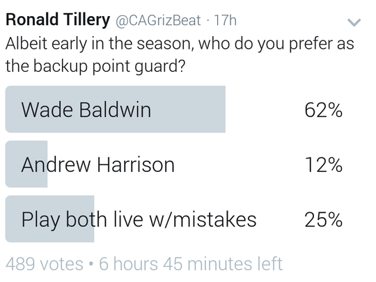 The readers select Wade Baldwin as the point guard they'd like to see backup Mike Conley.