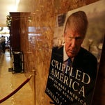 A poster advertising Donald Trump's latest book in New York on Dec. 8, 2015.