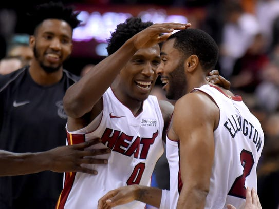 Miami Heat guard Wayne Ellington (2) celebrates with