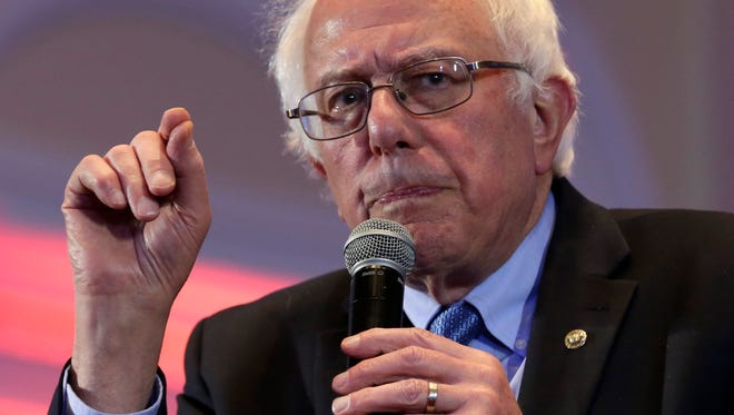 Democratic presidential candidate Bernie Sanders addresses a Community Conversation on Young Men of Color event in Baltimore, Maryland on Saturday.