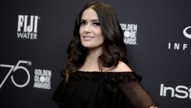 Salma Hayek attends the HFPA and InStyle Celebrate the Golden Globe Awards Season on Nov. 15, 2017, in West Hollywood.