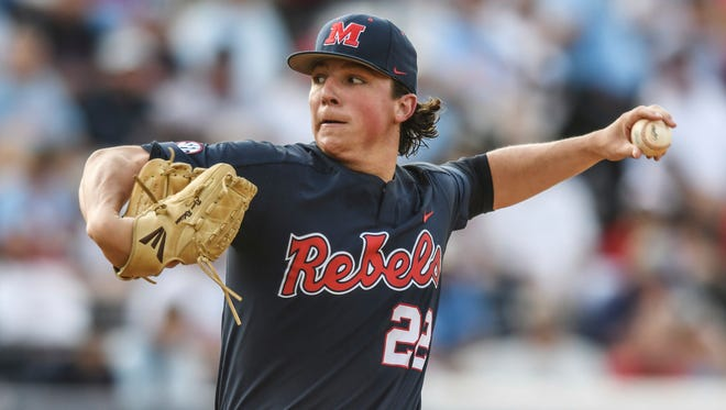 Mississippi pitcher Ryan Rolison throws against St. Louis during an NCAA college baseball tournament regional game in Oxford, Miss., Saturday, June 2, 2018. (Bruce Newman/The Oxford Eagle via AP)