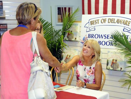 Lisa Eline of Rehoboth Beach meets Jill Biden as she