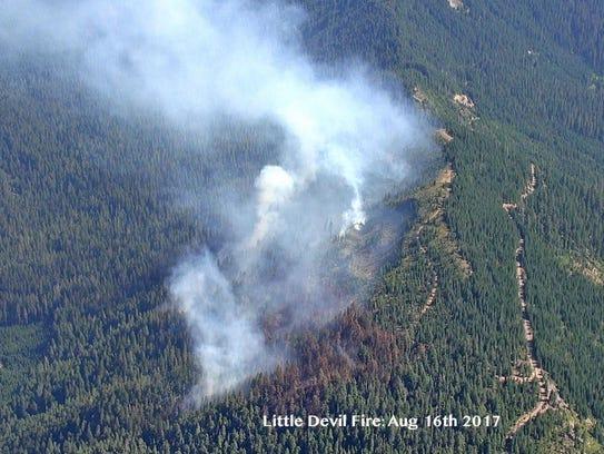 Little Devil Fire, burning on Devil's Ridge, on Aug.