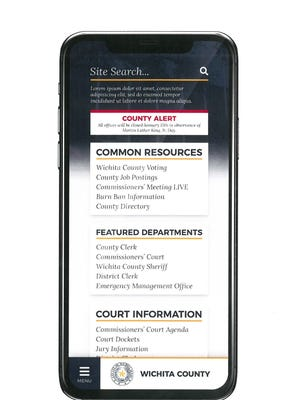 A mock-up by Crane-West of what the newly designed Wichita County website could look like on a mobile phone. Commissioner received a presentation Friday from Crane-West over design and support of a new website, email alerts, and mobile apps for the county.