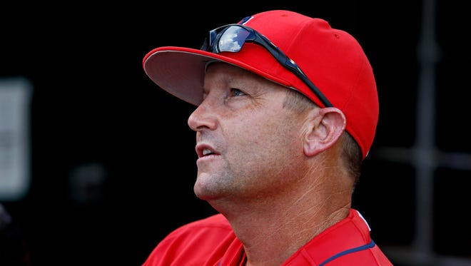Arizona Wildcats head coach Jay Johnson (2) before the game against the Coastal Carolina Chanticleers in game three of the College World Series championship series at TD Ameritrade Park.