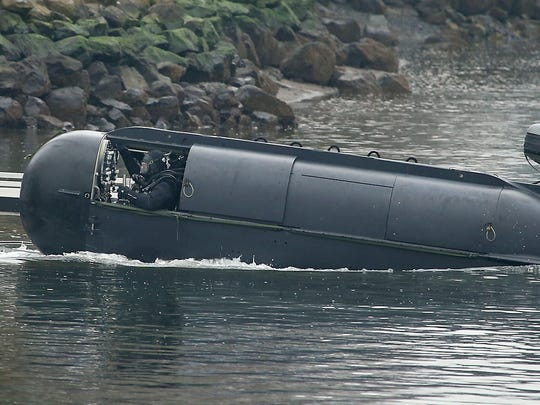 A submersible is launched in 2017 at Evergreen-Rotary Park in Bremerton for a Navy SEAL training session. The Navy is hoping to expand the number of parks SEALs can train at in Puget Sound to 29 from 5 now.
