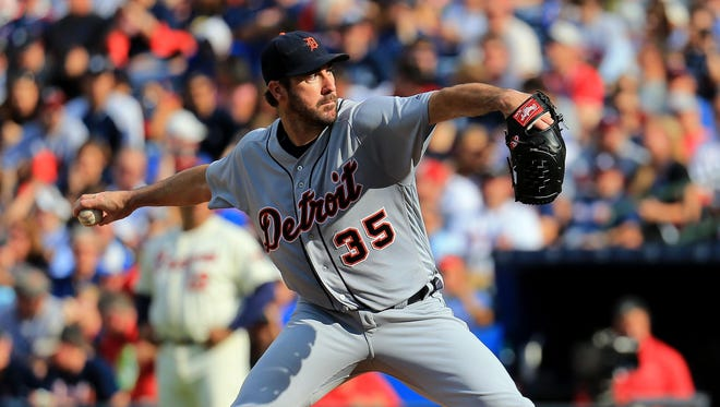 Tigers pitcher Justin Verlander allowed just one run on six hits and a walk while striking out eight in Sunday's loss in Atlanta.