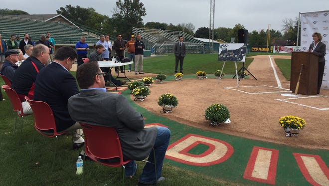 Lafayette baseball fans gathered at Loeb Stadium on Tuesday, Oct. 6, 2015, for MKE Sports & Entertainment LLC's announcement that it will operate a franchise in the collegiate summer time Prospect League next year in Lafayette.