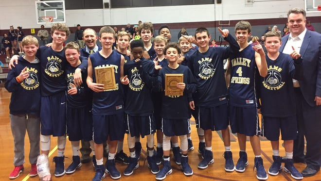 The Valley Springs Middle School boys basketball team.