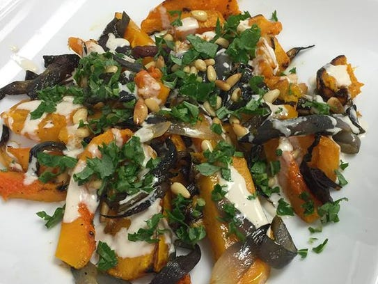A salad with butternut squash from Cafe YOU in Cape Coral.