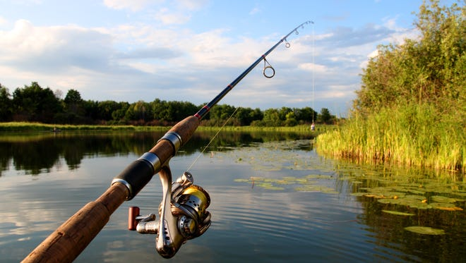 spinning with reel and summer lake