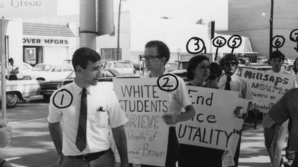 Millsaps College students protest the 1967 killing of Ben Brown. This photograph is from Mississippi Sovereignty Commission files, which recorded each of the students' names.