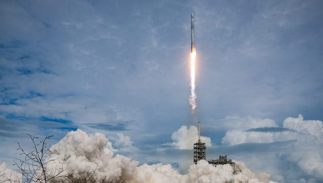 A SpaceX Falcon 9 rocket lifts off from Kennedy Space Center's pad 39A on the eleventh Commercial Resupply Services mission, known as CRS-11, on Saturday, June 3, 2017. The Dragon spacecraft atop the rocket delivered supplies and cargo to the International Space Station.