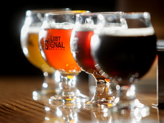 A flight of beers at Lost Signal Brewing, Springfield's