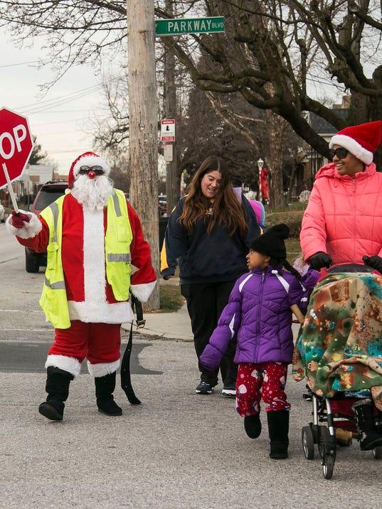 Santa Crossing guard