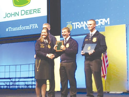 Loren King winning the Power, Structural, and Technical Systems category for the National FFA Agriscience Fair at the 2016 National FFA Convention. He is the current Michigan FFA State President.