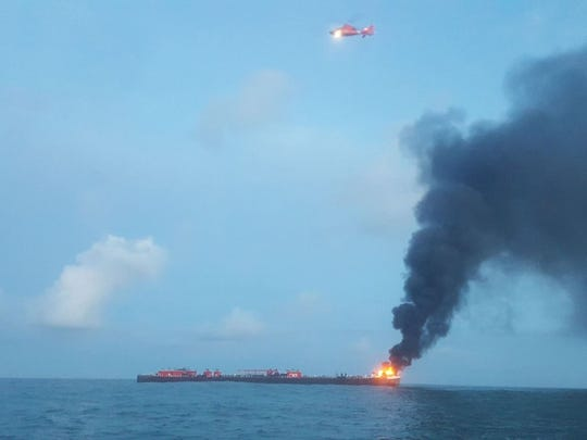 The Coast Guard responded to a vessel that caught fire Friday morning three miles off the jetties of Port Aransas.