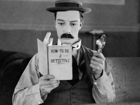 "Buster Keaton stars in ""Sherlock Jr.,"" playing at the"