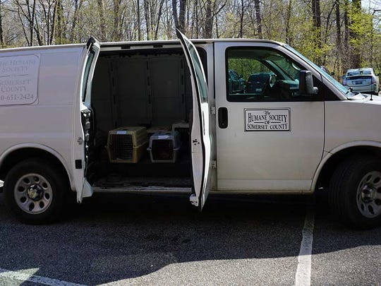 The Humane Society of Somerset County van carrying 19 cats sits in the parking lot of the Spay Spa and Neuter Nook in Davidsonville, Maryland.