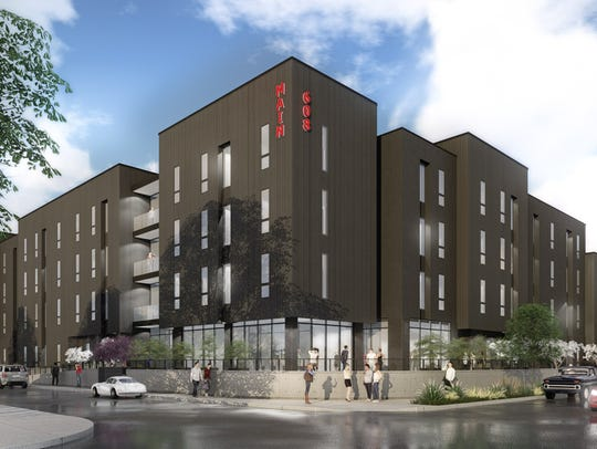 An artist's rendering of plans for the 608 Main apartments