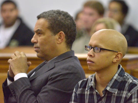 Defendant Michael Rivera, right, and defense attorney Wright W. Blake, at the preliminary examination.
