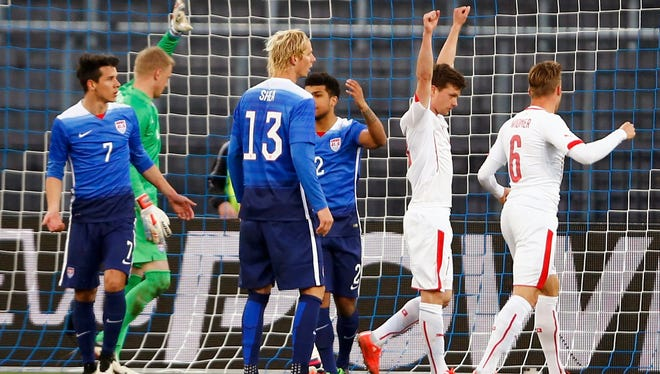 Valentin Stocker of Switzerland celebrates his goal that tied it up late in the match.