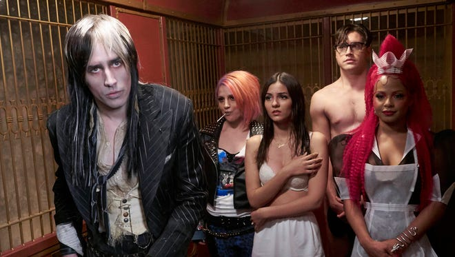 Reeve Carney, left, Annaleigh Ashford, Victoria Justice, Ryan McCartan and Christina Milian star in Fox's new version of 'The Rocky Horror Picture Show.'